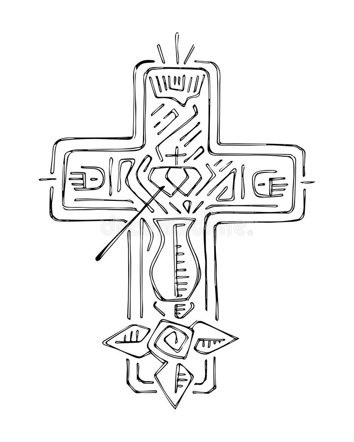 Religious Cross With Symbols Illustration Stock Vector