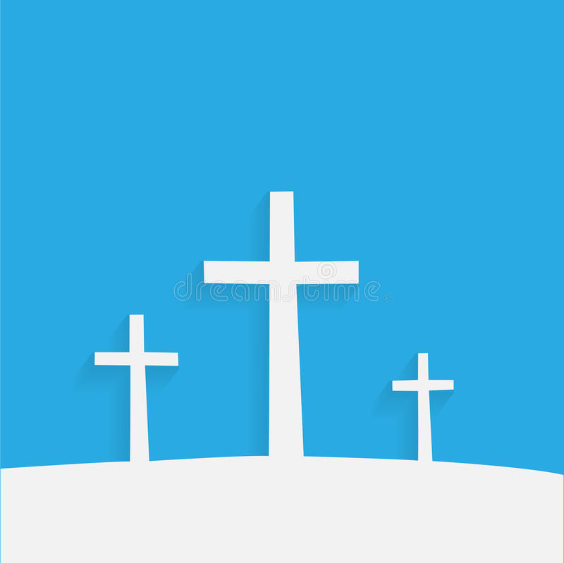 Religious Crosses. Illustration of religious crosses against a colorful background royalty free illustration
