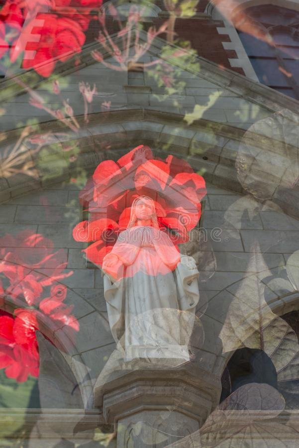 Rosey religion. A religious double exposure image royalty free stock images