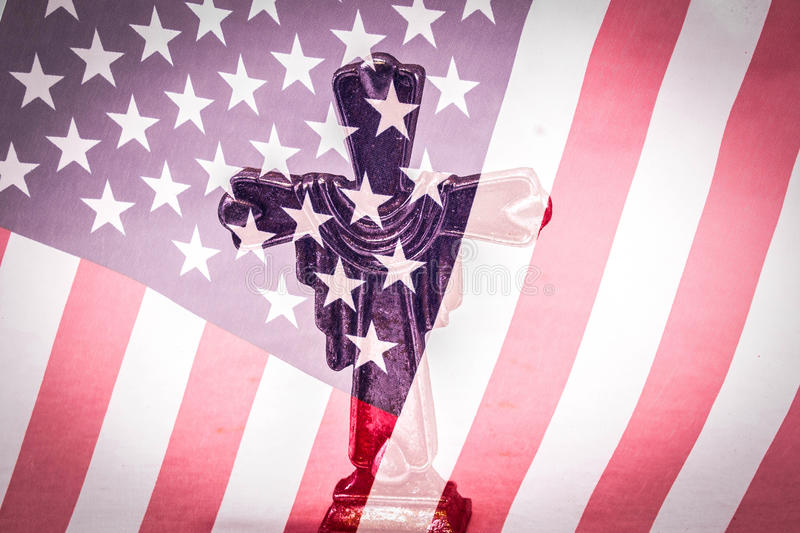 Religious Freedom. Holy cross overlaid on a United States Flag royalty free stock images
