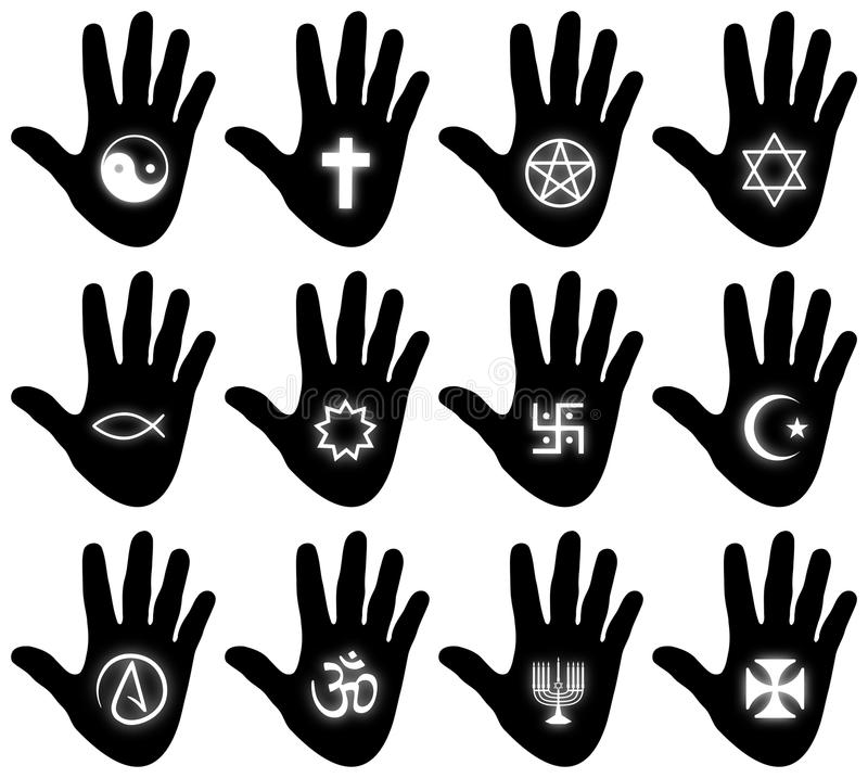 Religious Hand Symbols. Illustration of twelve hands with religious related symbols royalty free illustration