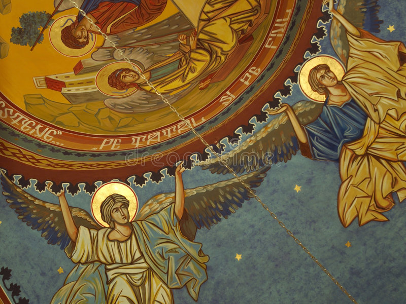 Religious icon. With saints on the ceiling of a church stock image