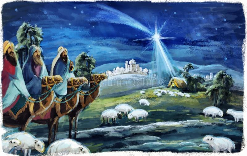 Religious illustration three kings - and holy family - tradition. Traditional christmas scene with holy family and three kings for different usage royalty free illustration