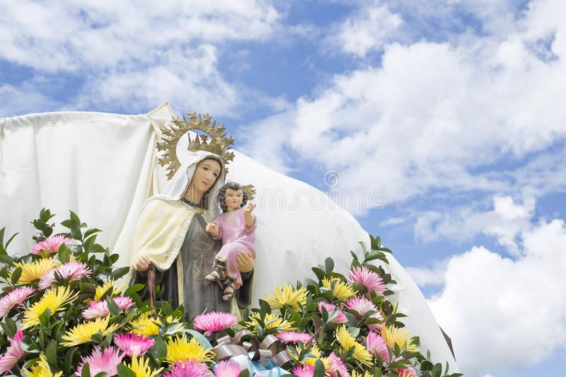 Religious image of the Virgin during the `Virgen del Carmen` procession. Religious image of the Virgin during the `Virgen del Carmen stock photography