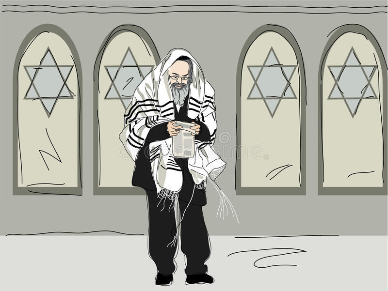 Download Religious After Attending Synagogue Stock Illustration - Illustration: 33032651