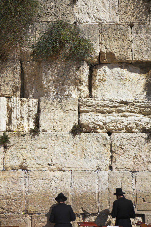 The religious Jews. Praying at the Western wall of the Jerusalem temple royalty free stock images