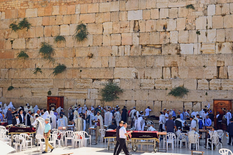 Religious jews praying at the Wailing Wall, Jerusalem. JERUSALEM, ISRAEL - June 15, 2017: religious jews, praying at the Wailing Wall Western Wall or Kotel , Old stock photography