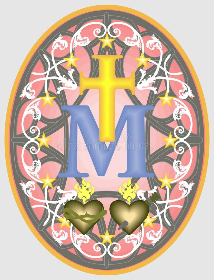 Miraculous medal of Our Lady, monogram M below the Cross, surrounded by stars and ornaments. Religious medal, monogram M under the Cross with the symbols of two stock illustration