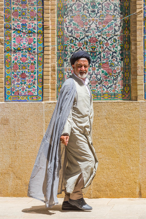 Religious men in Shiraz, Iran. SHIRAZ, IRAN - APRIL 26, 2015: religious unidentified man in Shiraz, Iran royalty free stock photos