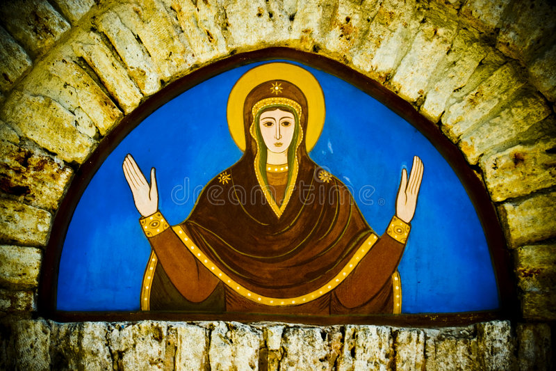 Religious mural in church stock photo