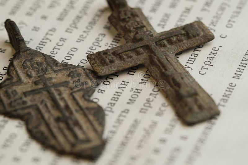 Religious Orthodox Symbols In The Form Of A Cross On An Open Book