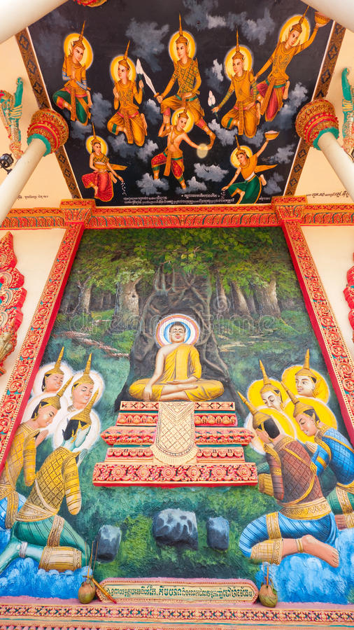 Download Religious Painting At Buddhist Temple In Cambodia Stock Image - Image: 21540915