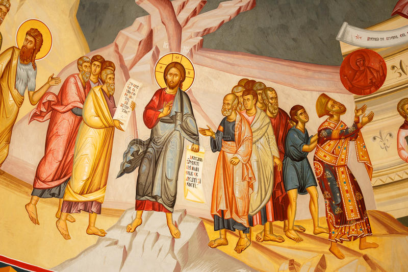 Religious painting on a church wall royalty free stock photography