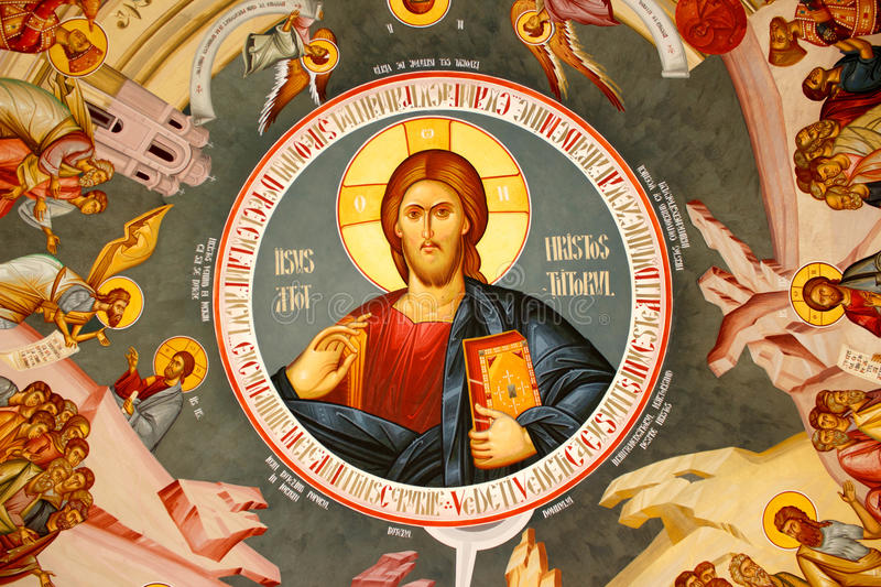Religious painting on a monastery dome royalty free stock photography