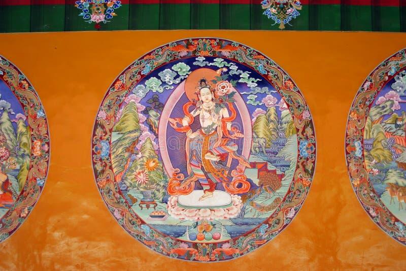 Religious painting at Sera Monastery in Tibet. China stock image
