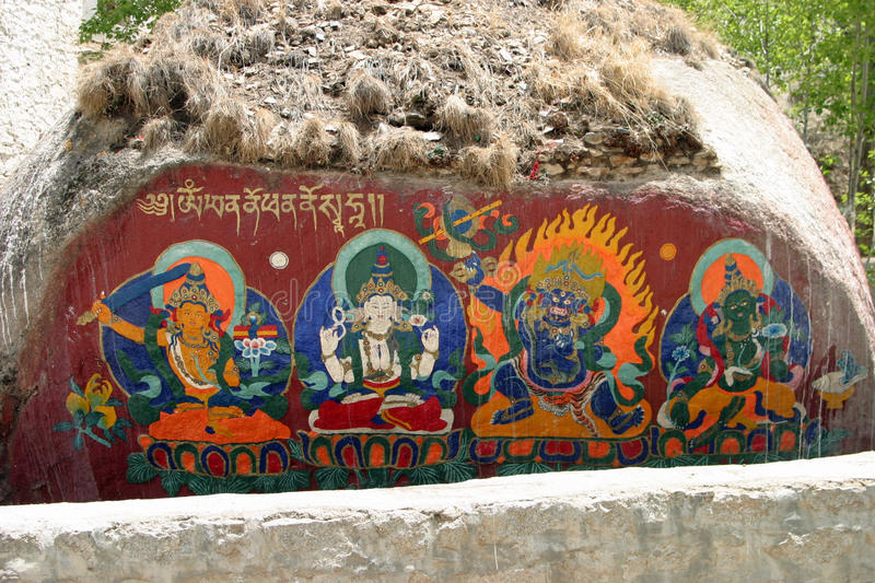 Religious painting at Sera Monastery in Tibet. China stock photography