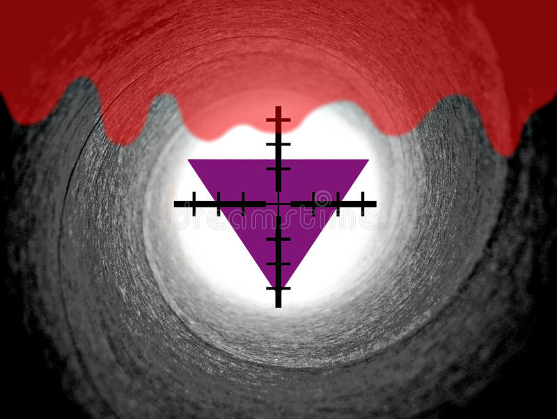 Religious persecution purple triangles. Photo of rifle cross hair targeted on purple triangle with the blood of martyrs depicting the persecution of jehovah's stock photos
