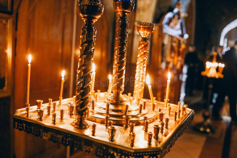 Religious rite inside cathedral signs candle symbols. Religious rite inside cathedral and signs and candle and symbols royalty free stock photos