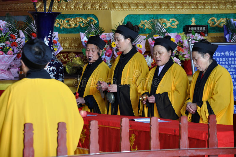 Religious Rituals. Taoist priests were making religious rituals at a Taoist temple in Lingyun Mountain, Nanchong, Sichuan, China royalty free stock images