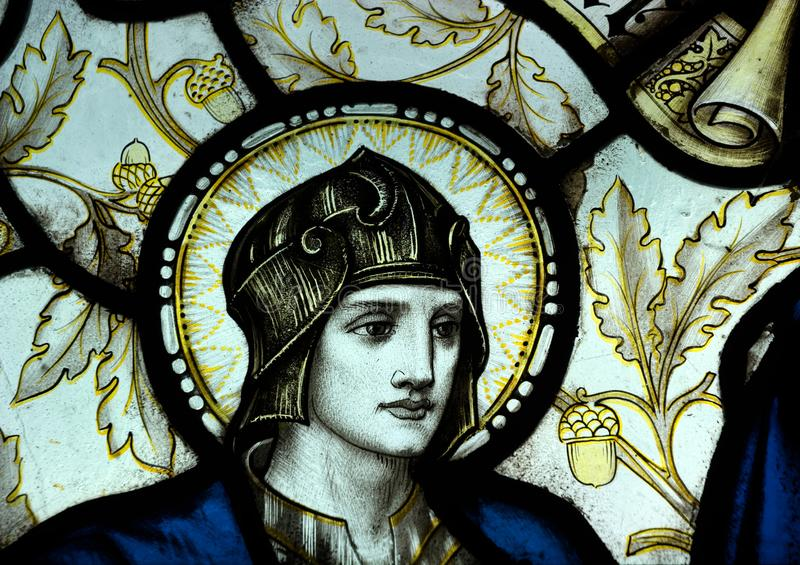 Religious Stained glass window. Portrait detail. royalty free stock photo