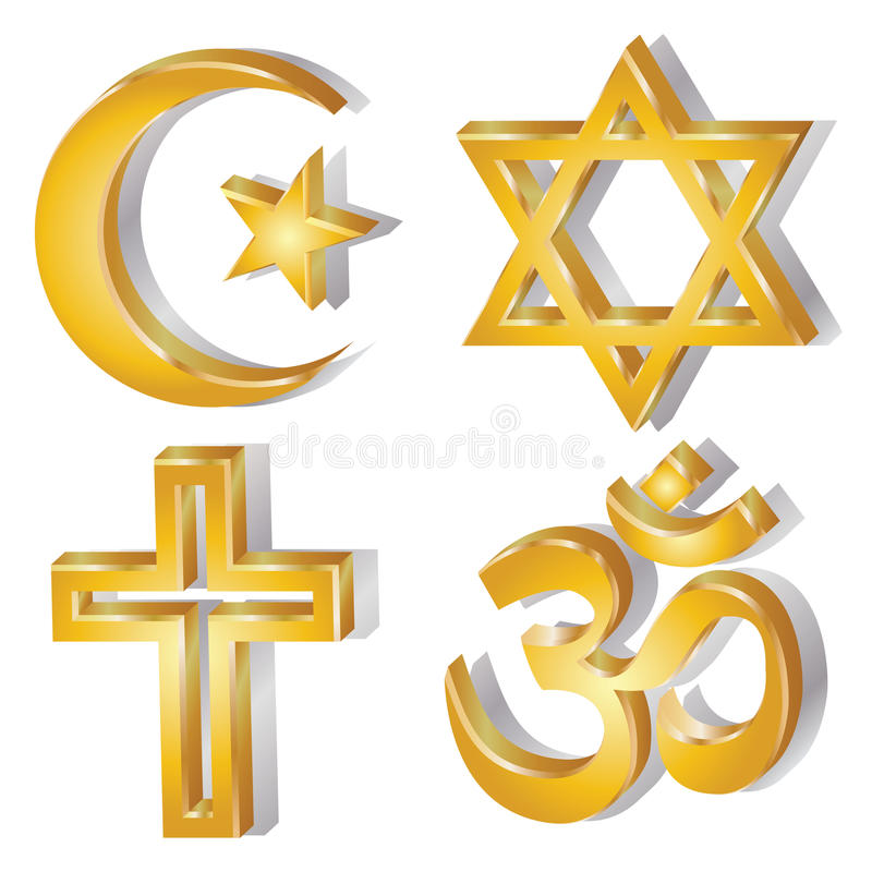 Religious symbol. Golden religious symbols Christianity, Hinduism, Islam, Judaism vector illustration on white background royalty free illustration