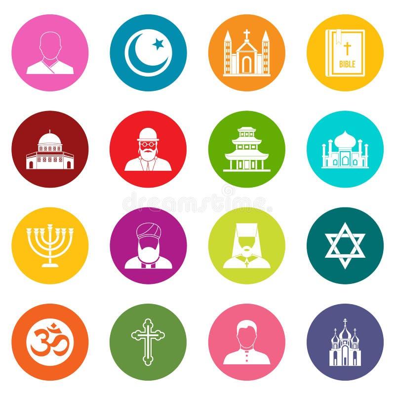 Religious symbol icons many colors set stock illustration