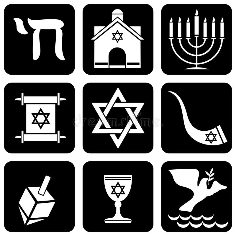 Religious symbols. Set of icons of religious judaism signs and symbols royalty free illustration