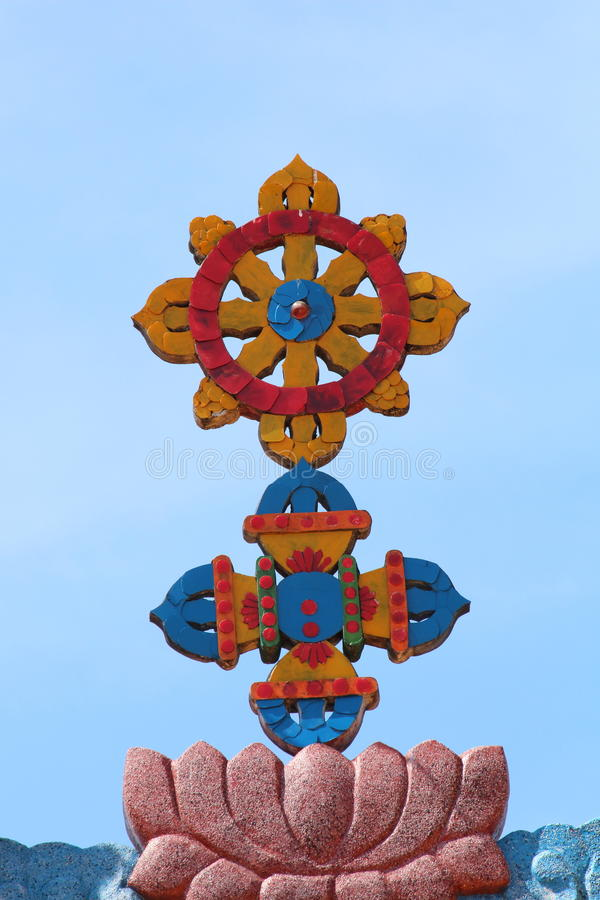 Religious symbols of China. At the roof of temple royalty free stock images