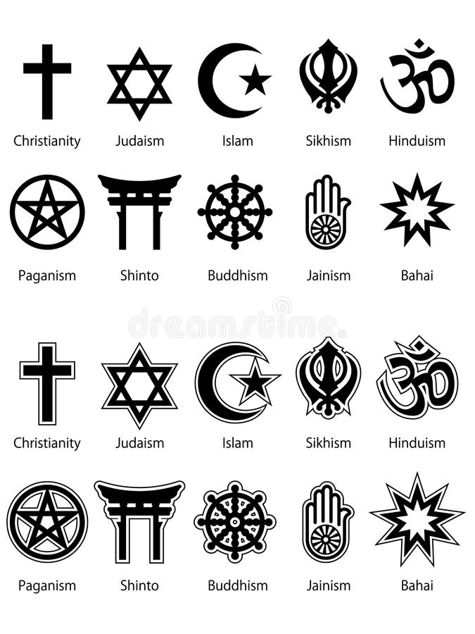 Religious Symbols EPS. A collection of the 10 biggest religious symbols done in two different styles. The second style has a solid white background. Available in stock illustration