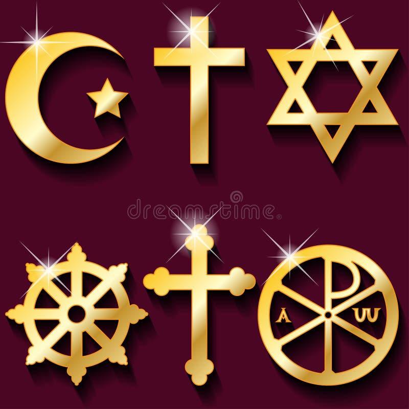 Religious symbols. Illustration gold religious symbols on maroon background stock illustration