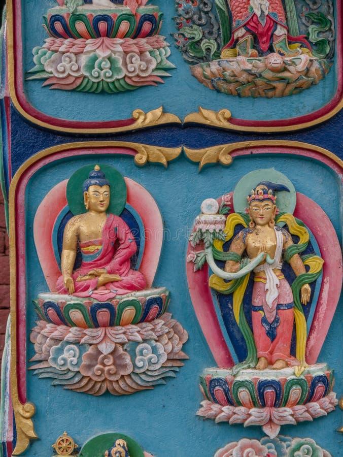 Religious Symbols in Nepal. Close up of building exterior in Nepal, religious symbols stock photography