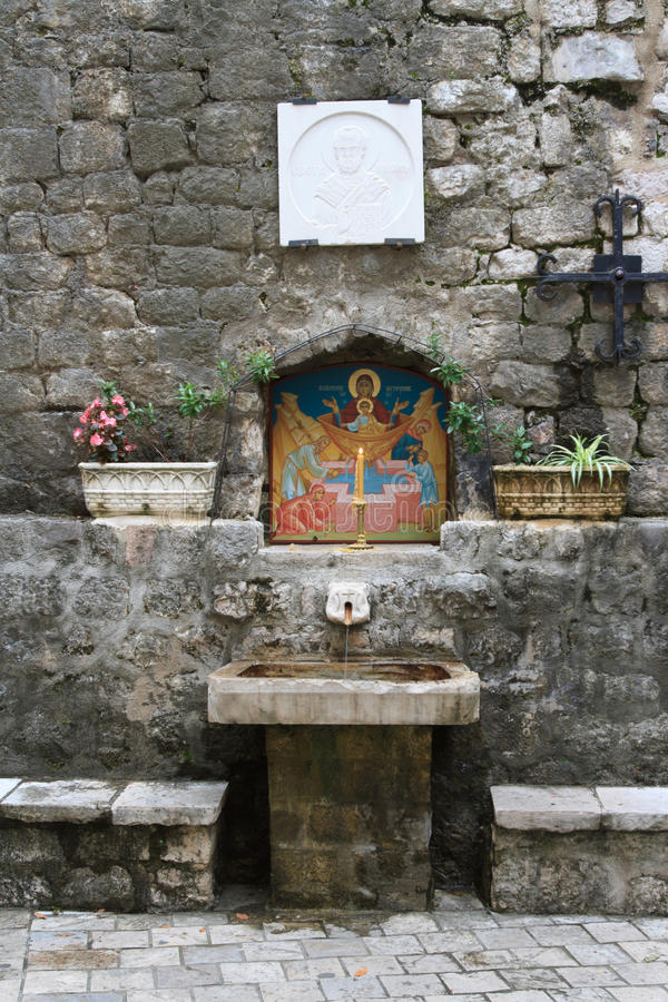 Religious symbols of the Orthodox Church in the town of Kotor. Religious symbols of the Orthodox Church in the old town of Kotor, Montenegro stock photography