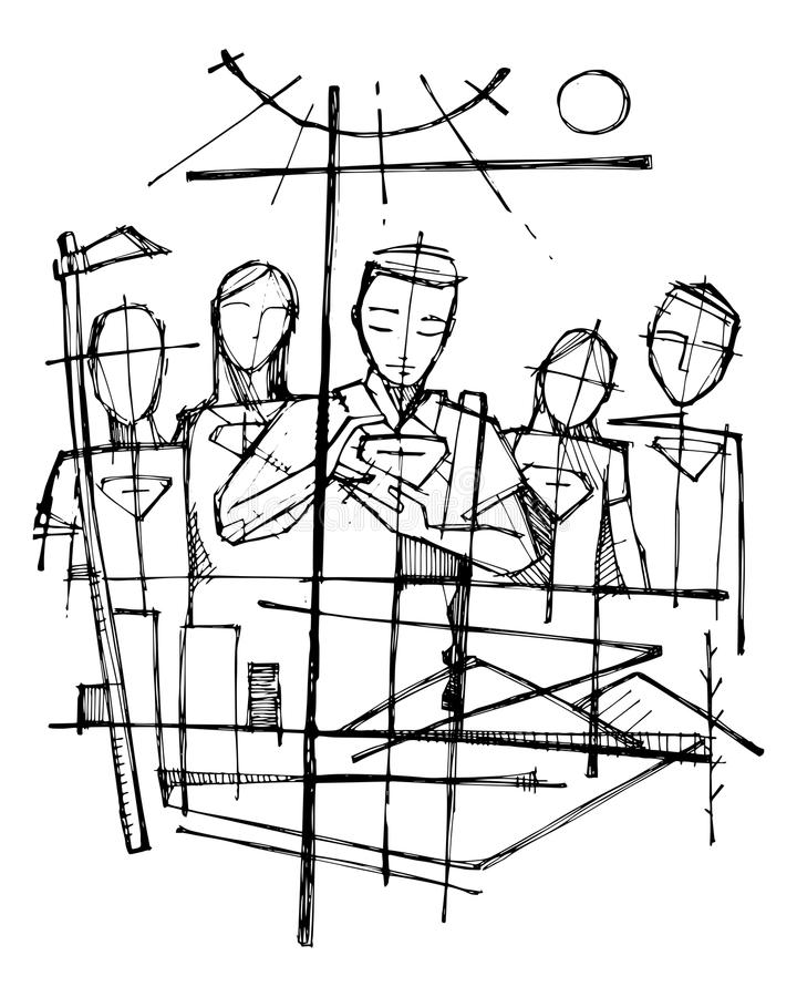 Religious symbols and people illustration stock illustration