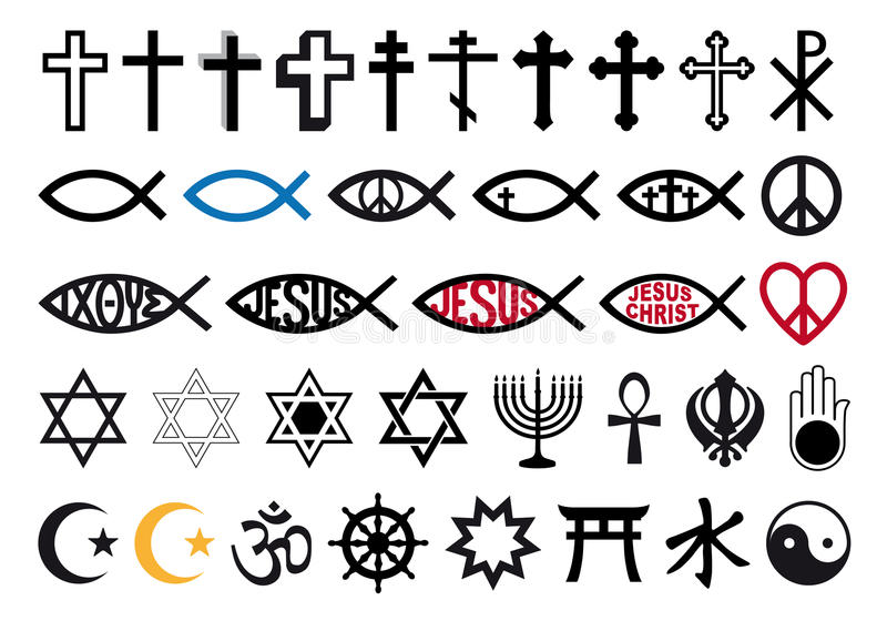 Religious symbols, religion signs, vector set. Religious symbols, religion signs, vector icon set stock illustration