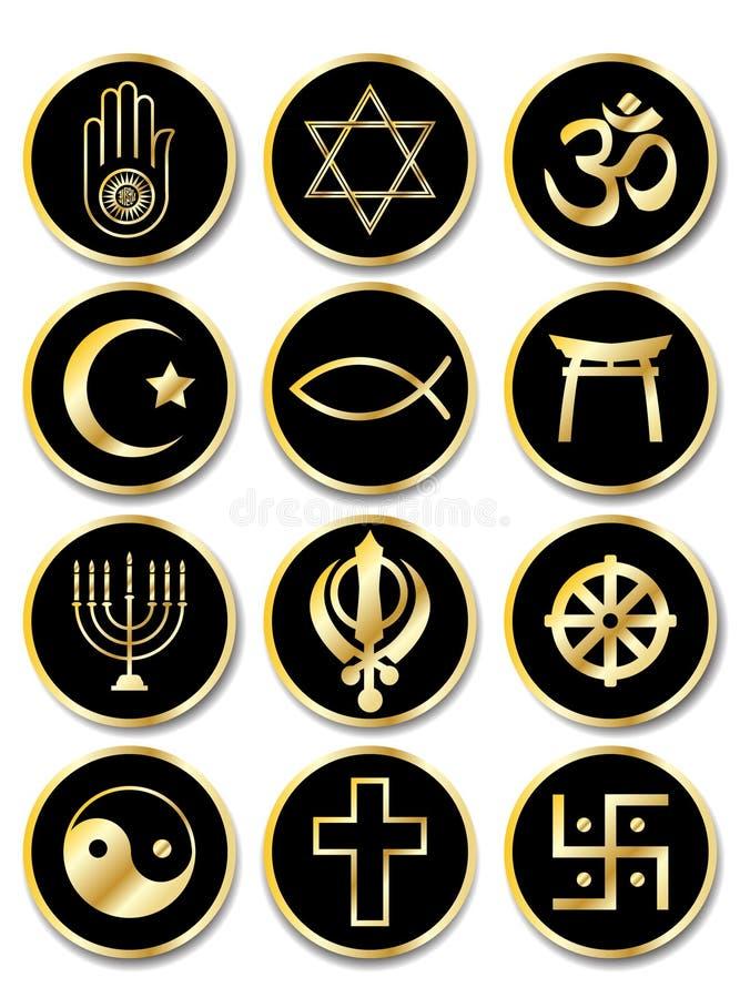 Religious symbols stickers gold on black royalty free illustration