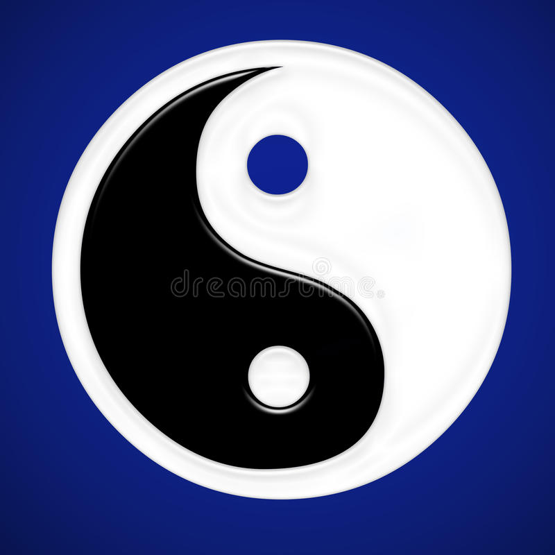 Religious sysmbol. Chinese religious symbol blue gradient royalty free illustration