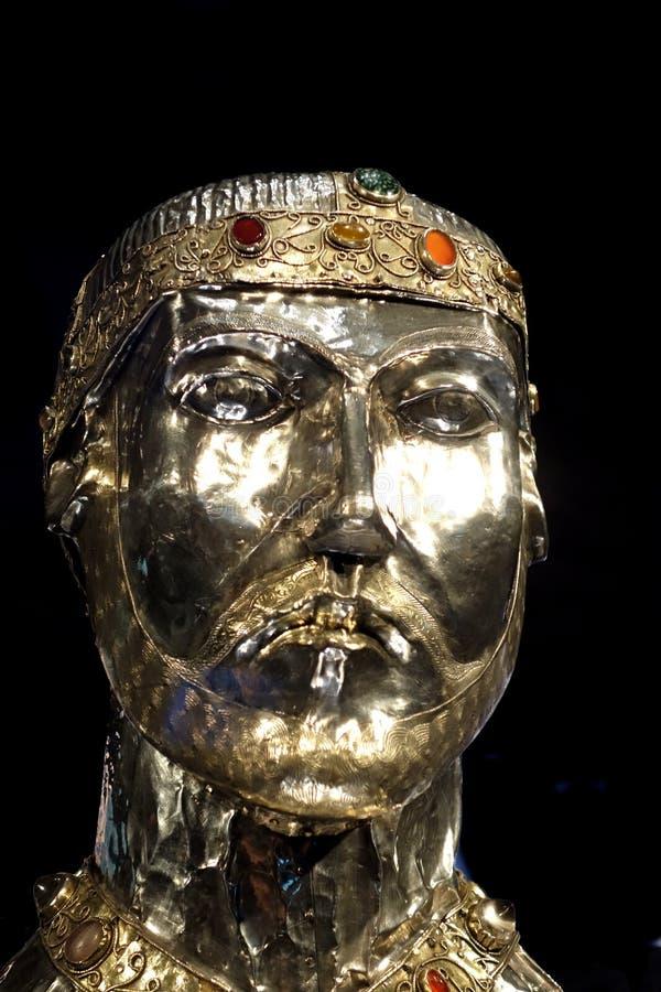 Relikskrinhuvudet av helgonet Candidus fotografering för bildbyråer