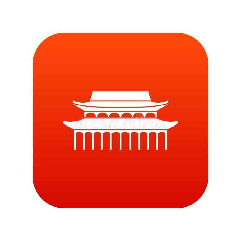 Relikt-Tempel Buddhas Toothe im digitalen Rot Singapur-Ikone vektor abbildung