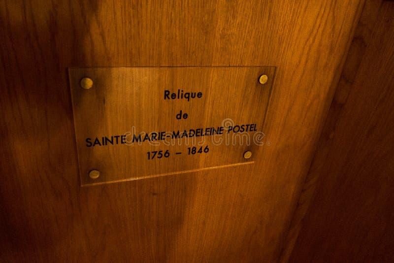 Relikt von St. Mary Magdalene Postel in der Kirche von Sankt Nikolaus in Barfleur Normandie, Frankreich lizenzfreies stockbild