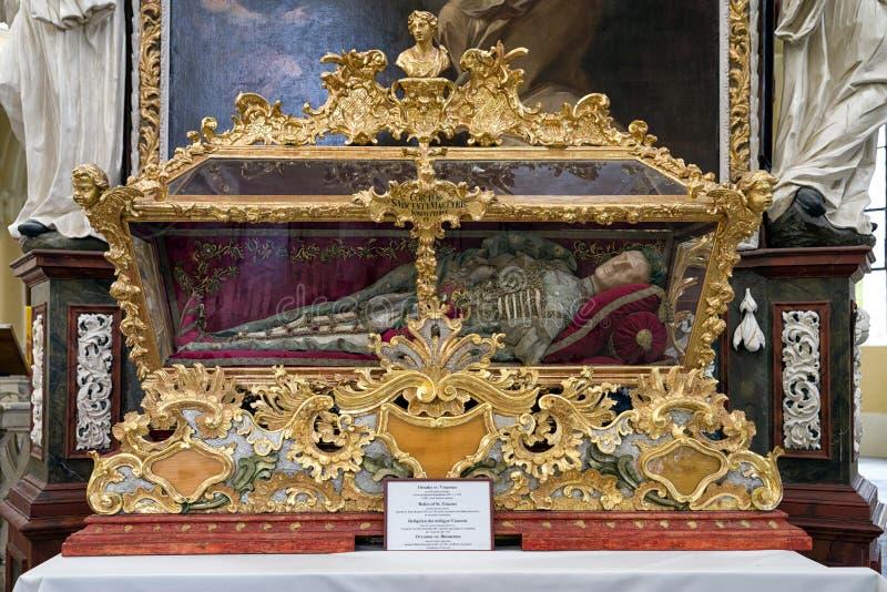 Reliques du Saint Vincent dans le kutna Hora, République Tchèque image stock