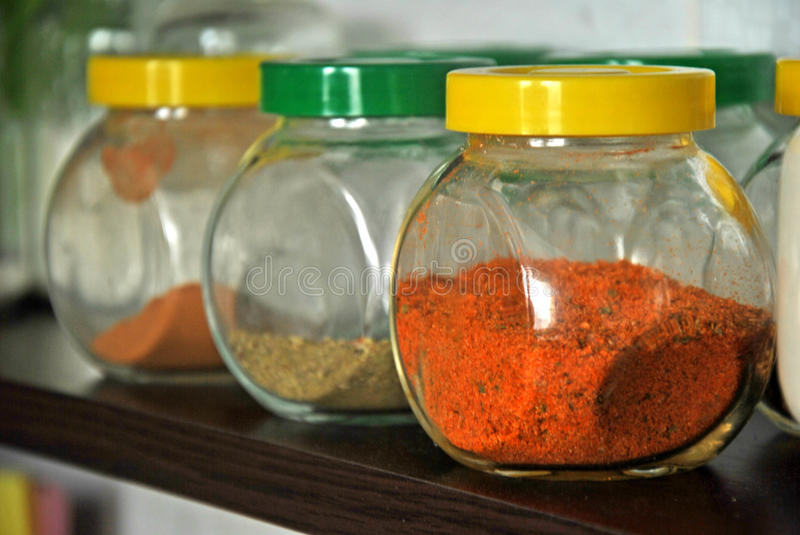 Relish in a jar. Photo of a relish in a jars in a kitchen stock photo
