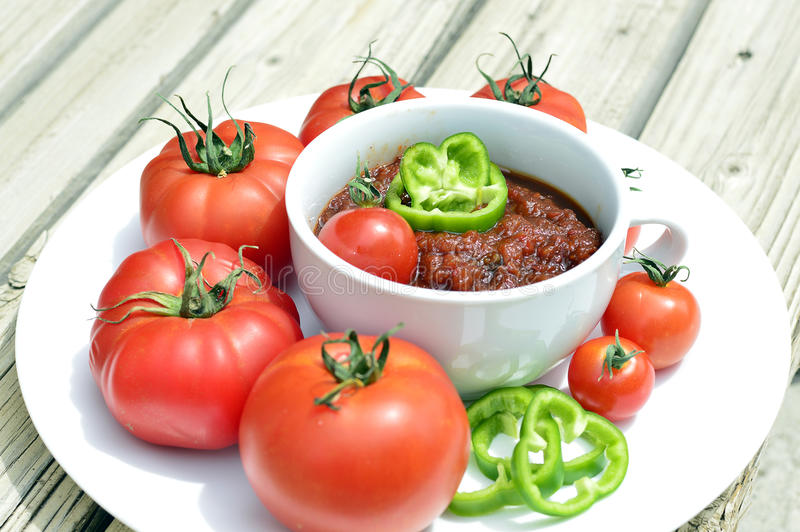 Relish tomato. Relish tomatoes with peppers onions and spices in a bowl on a tray stock image