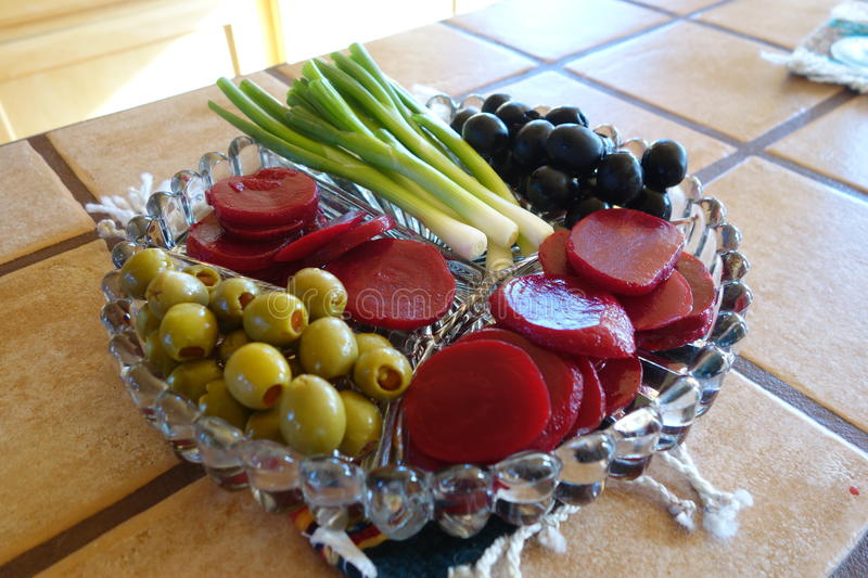 A relish tray. A picture of a relish tray with red beets and onions royalty free stock image