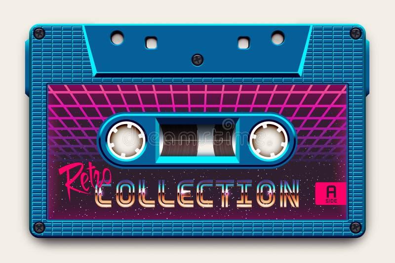 Relistic Bright Blue Audio Кассета, Retro Коллекция, Mixtape в стиле 80-х и ретроволн, Synthwave, Outrun бесплатная иллюстрация