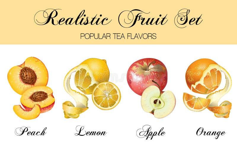 Relistic-Früchte eingestellt lizenzfreie abbildung