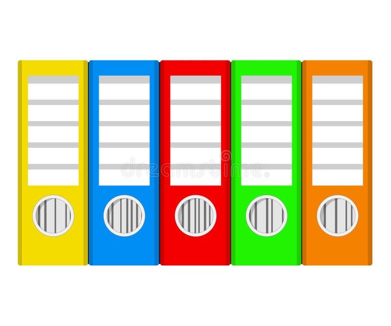Reliures à anneaux colorées sur le blanc, illustration courante de vecteur, offic illustration de vecteur