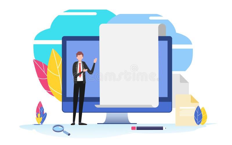 Rellene un impreso Hombre de negocios Uso en línea encuesta, entrevista, trabajo, documento en blanco, presentación, entrenamient stock de ilustración