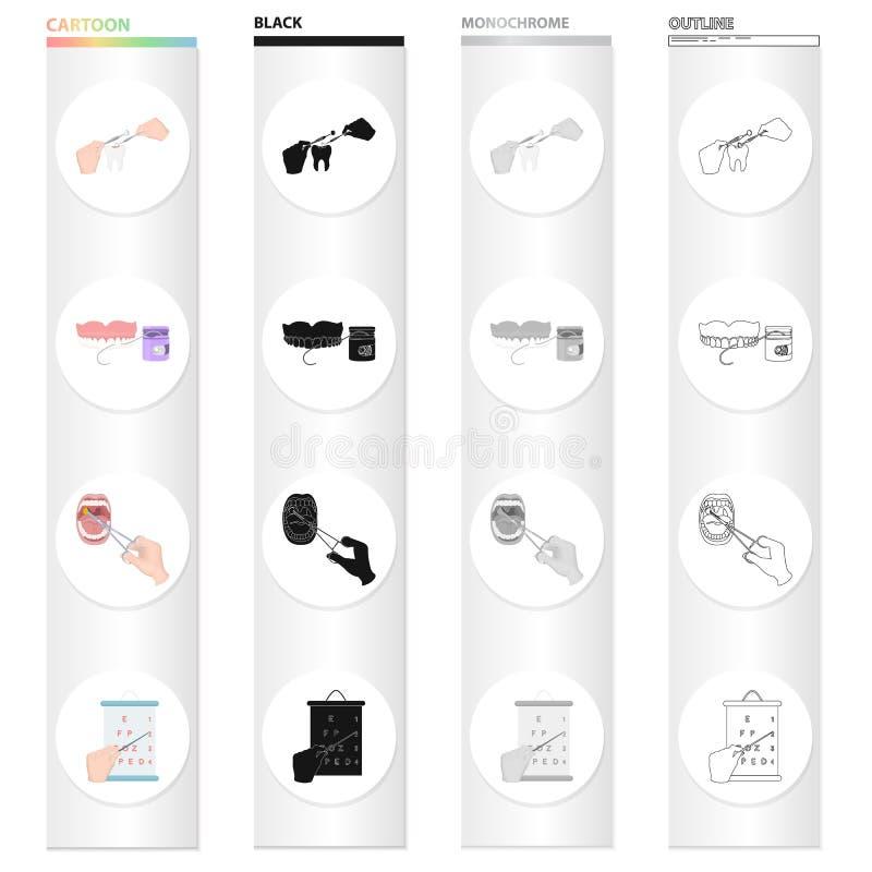 Relleno del diente, cuidado dental, tratamiento médico de la garganta, control de la visión Colección determinada de la medicina  stock de ilustración