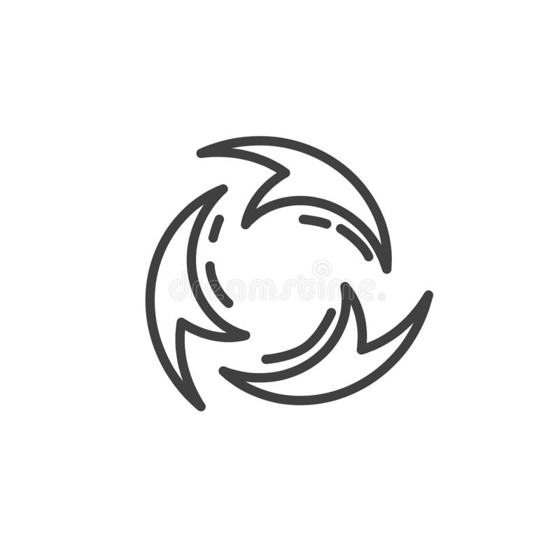 Reload arrows line icon. Linear style sign for mobile concept and web design. Three circular arrows outline vector icon. Symbol, logo illustration. Vector royalty free illustration