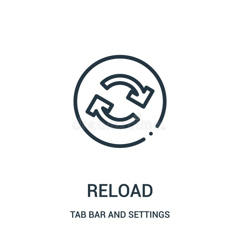 reload icon vector from tab bar and settings collection. Thin line reload outline icon vector illustration stock illustration